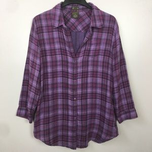 Anthropologie Fei Daywalk Purple Plaid Tunic